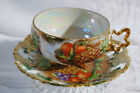 VTG ROYAL SEALY CHINA JAPAN 3 FOOTED TEA CUP PIERCED SET FRUIT  GOLD LUSTRE