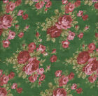 Robyn Pandoloph Forget Me Not Roses Green FLANNEL Quilt Fabric - 1 Yard