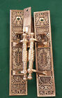 AWESOME SET SOLID BRASS/BRONZE ANTIQUE DOOR HANDLES ORIGNAL LOCK BOX CORBIN 1883