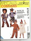 McCall's Costume Pattern 6799 Childrens Size 5,6 Cowboy Cowgirl Indians 1993