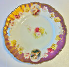 BEAUTIFUL ANTIQUE OPEN HANDLE RS PRUSSIA CAKE PLATE, FIGURAL, GOLD WITH ROSES