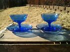 2 Hazel Atlas Moderntone Cobalt Blue Ice Cream Sherbet Dish And Saucer Plates