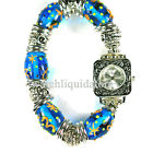 Decade Ladies Bead Silver Stretch Band Blue Colors Easy Read Stone Braclet Watch