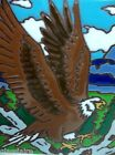 Vintage Enamel Art Tile Trivet EAGLE Soaring Beauty 6