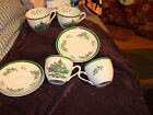 4 SPODE ENGLAND CHRISTMAS TREE TEA CUP AND SAUCERS # S3324  MINT
