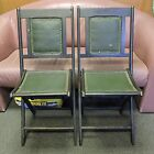 LOT OF 2 ANTIQUE OAK WOOD VINYL LEATHER FOLDING CHAIRS