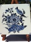 Vintage Delft Tile With Bird AndFloral Pattern Hanging