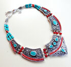 CORAL TURQUOISE GEMSTONE 925 TIBETAN SILVER VINTAGE ANTIQUE JEWELRY NECKLACE