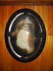 EARLY 1900s ANTIQUE WOOD FRAME CONVEX BUBBLE GLASS COLLECTIBLE Possible gesso