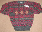 NEW Vintage Dead Stock Santana Mens Black & Red Bill Cosby Style Sweater L large