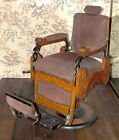 Antique KOKEN barber chair c1910 American Oak Art Deco Fleur De Lis excll condtn