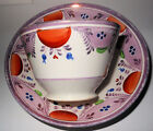 c1840 English Pink Lustre Gaudy Cup and Saucer, Wonderful Pattern