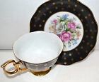 VINTAGE SHAFFORD HAND DECORATED TEA CUP AND SAUCER BLACK WITH ROSES
