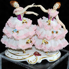 VINTAGE DRESDEN LACE FIGURINE TWO DANCERS GERMANY EXCELLENT