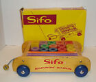 vintage SIFO RAINBOW WAGON O BLOCKS wooden wood PULL TOY for child