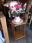 BEAUTIFUL VINTAGE WOODEN WATER BASIN STAND WITH PORCELAIN BOWL AND PITCHER