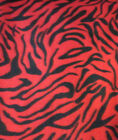 Zebra fleece fabric sold BTY Red and black print 60 wide