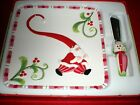 Fitz and Floyd Mingle Jingle Be Merry Snack Cookie Plate With Spreader New XMAS