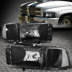 BLACK HOUSING CLEAR LENS HEADLIGHT+CORNER SIGNAL LAMP FOR 94 02 RAM TRUCK BR BE