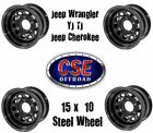 SET OF 4 Black 15x10 Steel Wheel for Jeep Wrangler YJ TJ Cherokee 1984 2006
