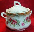 Early 1900's Triple (Three) Crown Fine China Biscuit Jar Germany Roses and Gold