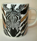 Horchow Black and Gold Zebra Coffee Mug Cup Japan Striped