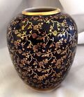 Karafina Thin Porcelain Vase Black Cobalt Gold Bavaria Germany  4