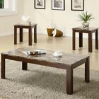 Wood Coffee Table Set Cocktail Furniture Side End 3 Pc Living Room Faux Marble