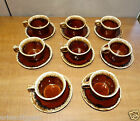 11864/ Lot of 8 Brown Drip HULL COFFEE CUP / Mugs  with SAUCERS USA