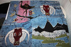 Lot of 4 HANDMADE BY FABRIC ARTIST Hand-Painted QUILT Art  Panel Cloth Signed