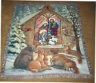 Christmas Nativity w Wildlife Animals Tapestry Afghan Throw by Parker Fulton