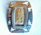 Mayan Aztec Sterling Silver 18K Gold Tribal God Shadow Box Brooch pin/ Pendant