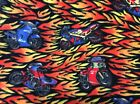 Rare blue red green motorcycle hot flame fire fleece fabric, 60