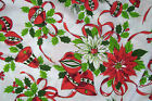 Vintage 67 Inch Round Christmas Tablecloth with Red Crochet Fringe