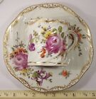 ANTIQUE GERMAN DRESDEN PORCELAIN CHINA CUP & SAUCER HAND PAINTED FLOWERS