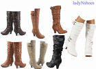 New Womens Fashion Dress Low Heel Zipper Mid Calf Knee High Boots Size 5 10