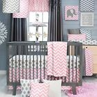 NEW Sweet Potato Swizzle Quilt, Dot Sheet and Crib Skirt, Grey/Pink/White