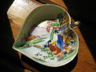 Vintage porcelain trinket dish with handle, Made in Japan, handpainted 1960-70s