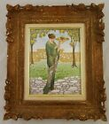 Antique FRENCH Framed Hand Painted JEWELED PORCELAIN LIMOGES PLAQUE Muse Orchard