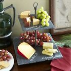 Slate Server Stand 2 Tiered Cheeses Fruits Appetizer Square Display Counter Tray