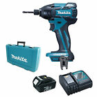 MAKITA 18V LXT BTD129 BTD129Z IMPACT DRIVER AND 1 x BL1830, 1 DC18RC AND CASE