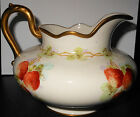 Luscious Strawberries HP on Willets Belleek Milk or Cream Pitcher, Golden Trim