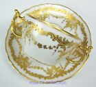 12 PIECES LIMOGES FRANCE BOUILLON CUP SAUCER GOLD ENCRUSTED