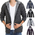 New Winter Mens Cardigan Sweater Fur Wool Lining Knitted Jacket Hooded Warm Coat