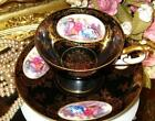 BLACK & GOLD TEA CUP AND SAUCER PORTRAIT COURTING COUPLE TEACUP LEFTON CHINA