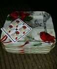 4 Holiday Wishes 222 Fifth Square Dessert Snack Appetizer Plates Christmas