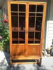 Antique Oak and Glass Display Curio Cabinet Early 1900's USA Medium Wood Tone