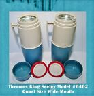 Pair Thermos® King Seeley Model #6402 Quart Size Wide Mouth Vintage Teal/Cream