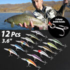 12 PCS 36 Fishing Lures Crankbaits Hooks Minnow Baits Tackle Twitching Bass
