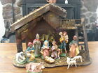 Vintage Italian Plaster Nativity Set 11 Pieces and Wooden Stable
